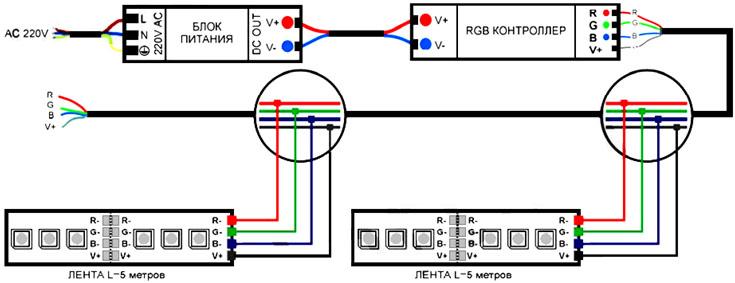 схемы подключения rgb контроллеров